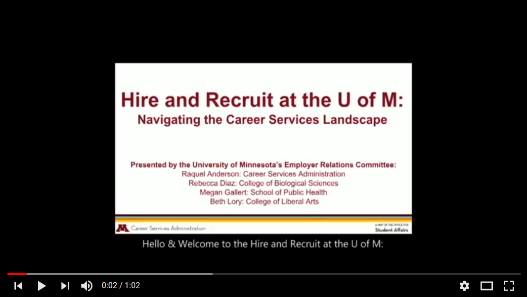 Image of a youtube video of an employer relations webinar